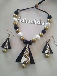 Funky Jewelry, Fabric Jewelry, Jewelry Crafts, Handmade Jewelry, Terracotta Jewellery Making, Terracotta Jewellery Designs, Beaded Necklace Patterns, Jewelry Patterns, Teracotta Jewellery