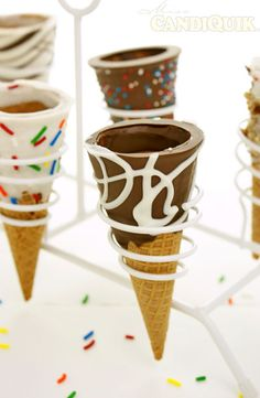 The Easiest Chocolate Dipped Ice Cream Cones - so much fun to made w/ the kiddos  - grab some cones, chocolate and vanilla candiquik, your choice of toppings and have fun! #kids #icecream | Follow @Melissa Squires Squires Squires Squires Henson CandiQuik
