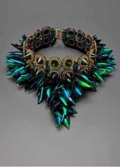 Laura McCabe Art - Green Gold Stone and Beetlewing Spiked Cuff Bracelet   1200