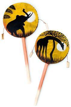 African Spin Drum Musical Instrument, made from Jacaranda wood, Kenya
