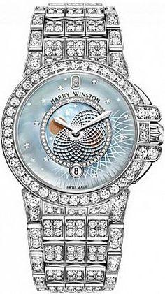 Harry Winston This quartz Ladies watch has 36 mm round White Gold & Diamonds case and Diamonds bezel. Harry Winston, Amazing Watches, Beautiful Watches, Gold Diamond Watches, Silver Pocket Watch, Ring Watch, Moon Phases, Watches For Men, Ladies Watches