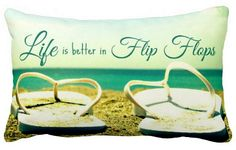 Life is better in Flip Flops Beach Photo Pillow: http://www.completely-coastal.com/2015/06/flip-flop-home-decor.html