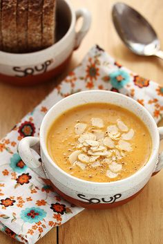 Wonderfully inviting Vegetable Cream Soup with Slivered Almonds.