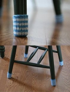 Nice idea! crocheted bottoms for chairs - no more screeching when moving the chair across the floor!