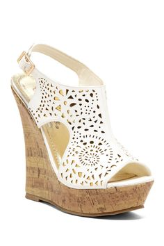 Nanti Laser Cut Wedge Sandal- just wish I didn't trip in shoes like this. Wedge Heels, High Heels, White Wedge Sandals, White Wedges, Crazy Shoes, Me Too Shoes, Christian Louboutin, Cute Heels, Prom Shoes
