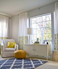 Suzie: Turquoise LA - Adorable yellow, gray  blue nursery design - gray walls paint color, ...