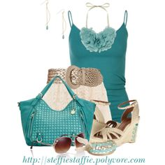 """Teal, Lace & Pale Gold"" by steffiestaffie on Polyvore"