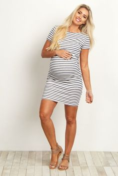 Ivory-Navy-Blue-Striped-Fitted-Short-Sleeve--Dress