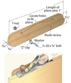 """A hand plane makes quick work of edge-jointing a board, but it's difficult to keep the plane perched parallel on the edge, square to the adjacent board face. To prevent plane tippiness, add on this plane fence. Because it mounts to the plane with bolts and tabletop fasteners (also called """"Z"""" clips), the fence can be installed and removed quickly and easily, and it works on either side of the plane. Just remember to cut recesses in the fence for the protruding plane blade. This allows the ..."""