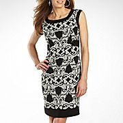 London Times Sleeveless Print Dress w/ Border