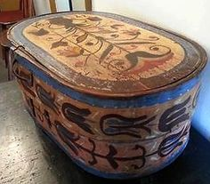 EARLY PRIMITIVE FOLK ART PAINTED DECORATED BAND PANTRY BRIDE'S BOX.