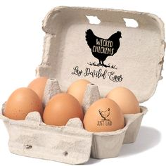 Chicken Egg Carton Stamp - Wicked Chickens Lay Deviled Eggs - Chicken Coop Egg Carton Labels - Egg Carton Tag - Pet Chicken Egg Stamper by SouthernPaperAndInk on Etsy