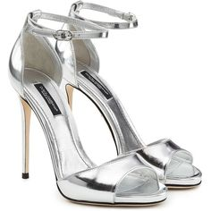 Dolce & Gabbana Metallic Leather Stiletto Sandals (29,405 INR) ❤ liked on Polyvore featuring shoes, sandals, silver, metallic shoes, stiletto heel sandals, leather sandals, open toe stilettos and shiny shoes
