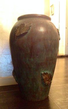 Gastone Batignani - large ceramic vessel, Italy c1930's. Teal glaze with raised leaves.  H.52 cm. Collezione privata.