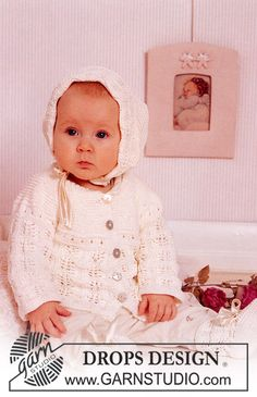 Knitted DROPS Cardigan, bonnet and socks in Safran. ~ DROPS Design