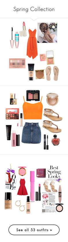 """Spring Collection"" by jelly12-861 ❤ liked on Polyvore featuring Warehouse, Maybelline, Stila, Aéropostale, Topshop, WearAll, Penny Loves Kenny, Too Faced Cosmetics, Yves Saint Laurent and Christian Dior"
