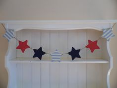 """Stars & Stripes"" wooden bunting hand painted in nautical colours. Fabulous beach hut chic."