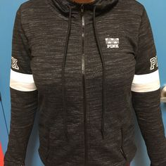 Victoria's Secret PINK Black Marled Zip Hoodie Black Marled zip up hoodie! Very cute! Only worn once in picture:) excellent condition! ✋NO TRADES!!!✋ PINK Victoria's Secret Jackets & Coats