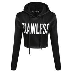 Stay #Flawless Cropped Hoodie - Black