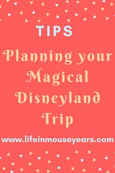 Are you planning a Disneyland vacation? Do you wonder when to go, what to do, and where to eat? How about what to bring? Today I thought that I would share some ideas as to where to gather this information and more while you are planning your magical Disneyland trip! www.lifeinmouseyears.com #lifeinmouseyears #disneyland #disney #disneyparks #disneylandresort #disneyplanning #disneylandideas #disneyideas Disneyland Vacation, Disney Planning, Disney Parks, Travel Tips, Eat, How To Plan, Life, Disneyland Vacations, Travel Advice