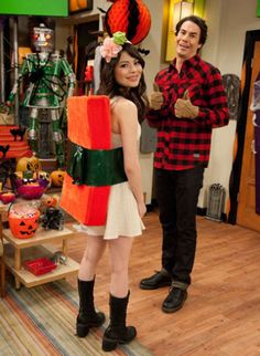 This year iCarly is celebrating Halloween twice: On this episode of iCarly there is a costume convention down the street from where they live.  That's when they get the brilliant idea for HALF-o-WEEN!  It's half way to Halloween and they cannot wait any longer!  So Halloween is born into an official new holiday and announce…