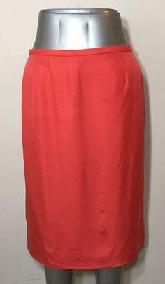 Dana Buchman Womens Size 12 Skirt 100% Silk Orange Coral Vented Business Career #DanaBuchman #StraightPencil #Career