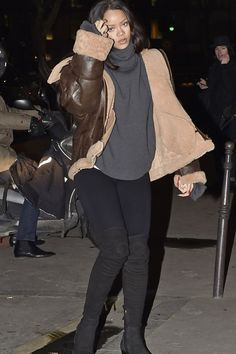 Rihanna wearing  Vetements FW15  Brown Leather Jacket With Shearling Trim