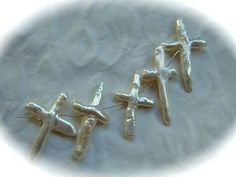 Freshwater pearl crosses 5 cream lustrous by NancyLynnDesigns