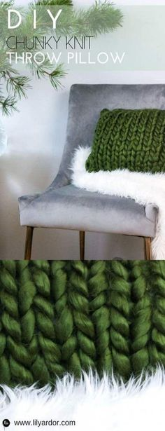 44 Best Ideas For Crochet Christmas Pillow Easy Diy Diy Throws, Diy Throw Pillows, Diy Pillow Covers, Sewing Pillows, Knitted Throws, Cushion Covers, Chunky Knit Throw, Chunky Blanket, Wool Blanket