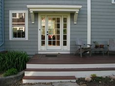 Front Porch Deck Ideas Door Front Porch Overhang Small Deck Ideas Picture Entry … - All For Garden Front Door Overhang, Front Porch Deck, Small Front Porches, Front Porch Design, Garage Door Design, Decks And Porches, Garage Doors, Deck Design, Patio Overhang Ideas