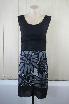 Size L 14 Boo Radley Ladies Black Tunic Top Floral Casual Boho Chic Silk Blend