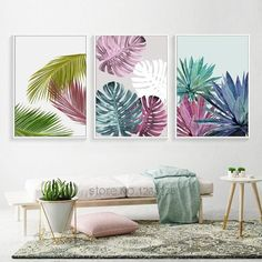 Abstract Plant Color Leaf Wall Art Canvas Painting Cuadros Posters Nor – Retrodora