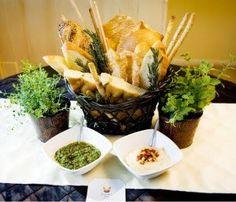 edible centerpiece - bread and herbs