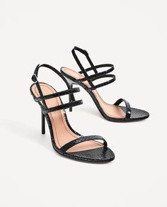 ZARA - WOMAN - STRAPPY HIGH HEEL SANDALS WITH ENGRAVED HEEL
