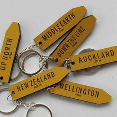 Road sign keyrings - NZ place name keyrings from Auckland to Middle Earth Cool Countries, Countries Of The World, Name Keyrings, Long White Cloud, New Zealand Houses, Kiwiana, Place Names, The Beautiful Country, Middle Earth