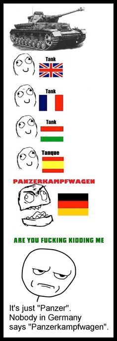 "We say ""Panzer"" in German. Funny Images, Funny Pictures, Funny Jokes, Hilarious, German Words, German Language, Japanese Language, Spanish Language, French Language"