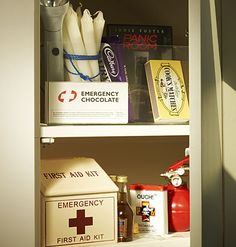 Panic Room    You don't need a secret room for retreat in case of catastrophic events; just designate a spot (or cabinet) to hold all the solutions to life's emergencies: first aid kit, chocolate, matches, and mini bottles of alcohol.