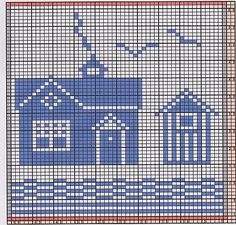 Ravelry: Potholder Sea Side 2 pattern by Regina Schoenfeldt Geek Cross Stitch, Cross Stitch House, Simple Cross Stitch, Cross Stitch Charts, Cross Stitch Patterns, Filet Crochet Charts, Knitting Charts, Crochet Lace Edging, Crochet Borders