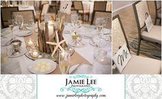 Naples Beach Hotel | Naples Wedding Photographer | Jamie Lee Photography | Beach Themed Wedding Reception | White Tables, Burlap Runner, Seashell Decor