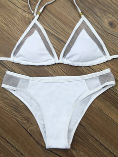 Voile Panel See-Through Bikini Set - WHITE M
