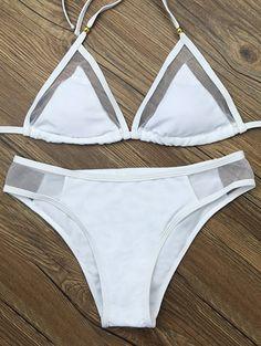 Voile Panel See-Through Bikini Set - WHITE M