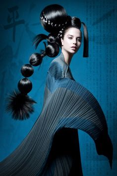 geisha redux / Kelly Hood - Avant Garde Hair Created By Nicholas French Foto Fashion, Fashion Art, Editorial Fashion, High Fashion, Trendy Fashion, Editorial Hair, Fashion Gallery, Beauty Editorial, Kimono Fashion