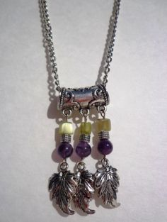Amethyst and green agate pendant and earrings by CharismaBolivia, $32.00