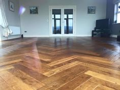 Beautiful Smoked Oak Herringbone after Sand and Finish. For more information on our Dust Free Floor Sanding Service contact our Showroom. Solid Wood Flooring, Hardwood Floors, Herringbone, Showroom, It Is Finished, Free, Beautiful, Wood Floor Tiles, Wood Flooring