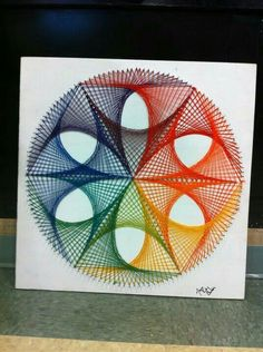 String Art DIY Crafts Kit - String together this awesome string art kit with String of the Art! Within hours you can display this completely unique crafts project. Instructions are a piece of cake. String Wall Art, Nail String Art, String Crafts, Arte Linear, Mandala, String Art Patterns, Art Du Fil, Spirograph, Math Art
