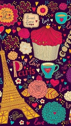 Vintage Love In Paris Patterns - Free iPhone Wallpapers
