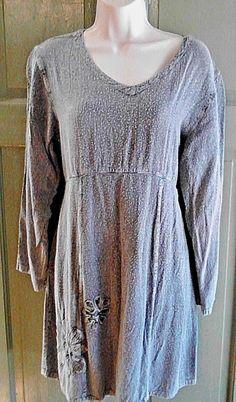 Sacred Threads BOHO Tunic Dress Knee-Length 100%Rayon Flower Embroidery M/L…