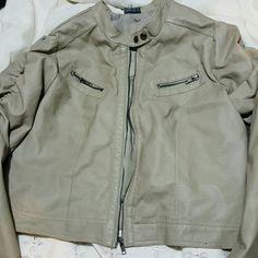 Leather  jacket Nice cream colored  leather jacket Jackets & Coats