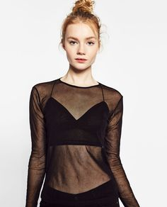 Image 1 of LONG SLEEVE TOP WITH TULLE from Zara