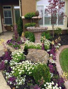 Fantastic Flower Landscape Design Ideas For Front Yard 18 Front Yard Patio, Small Front Yard Landscaping, Front Yard Design, Home Landscaping, Landscaping With Rocks, Front Yards, Front Porch, Rustic Landscaping, Flower Landscape
